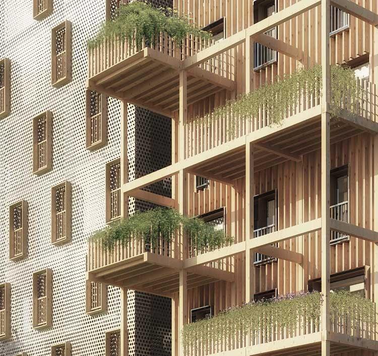 Totoro koz architectes projet appart pereybere facade bois logements collectifs architecture - Immeuble vegetal ...