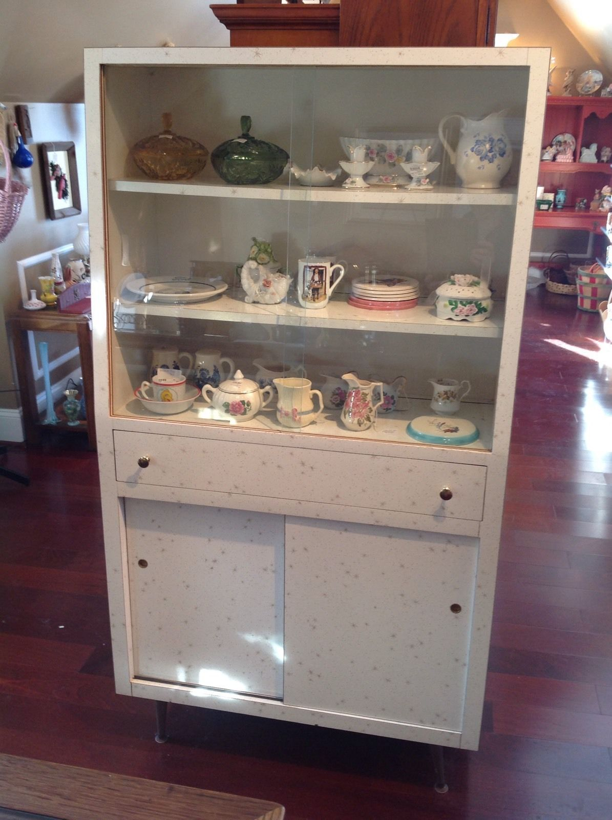 Vintage 50\'s Formica Sliding Glass Display Cabinet, Hutch With ...