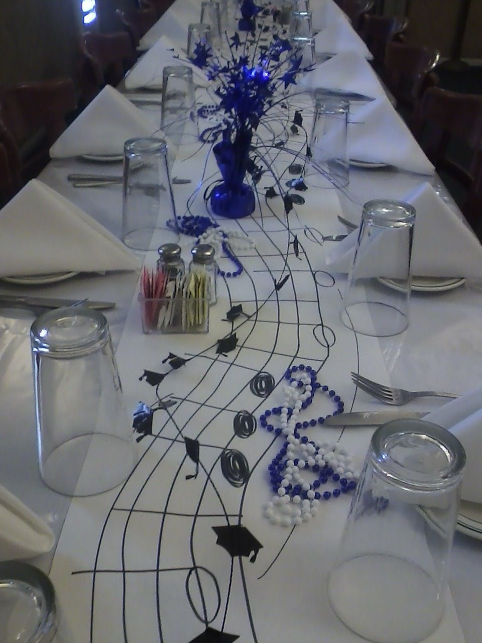 Decorated table for mhs band senior dinner our own