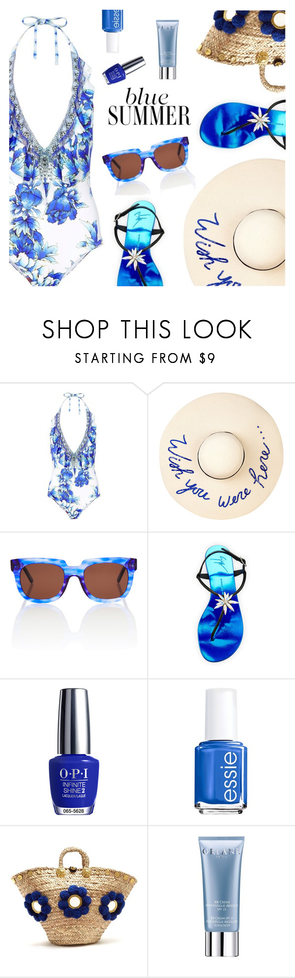 Blue Summer by dressedbyrose on Polyvore featuring Camilla, Giuseppe Zanotti, Muzungu Sisters, Eugenia Kim, Orlane, Essie and OPI
