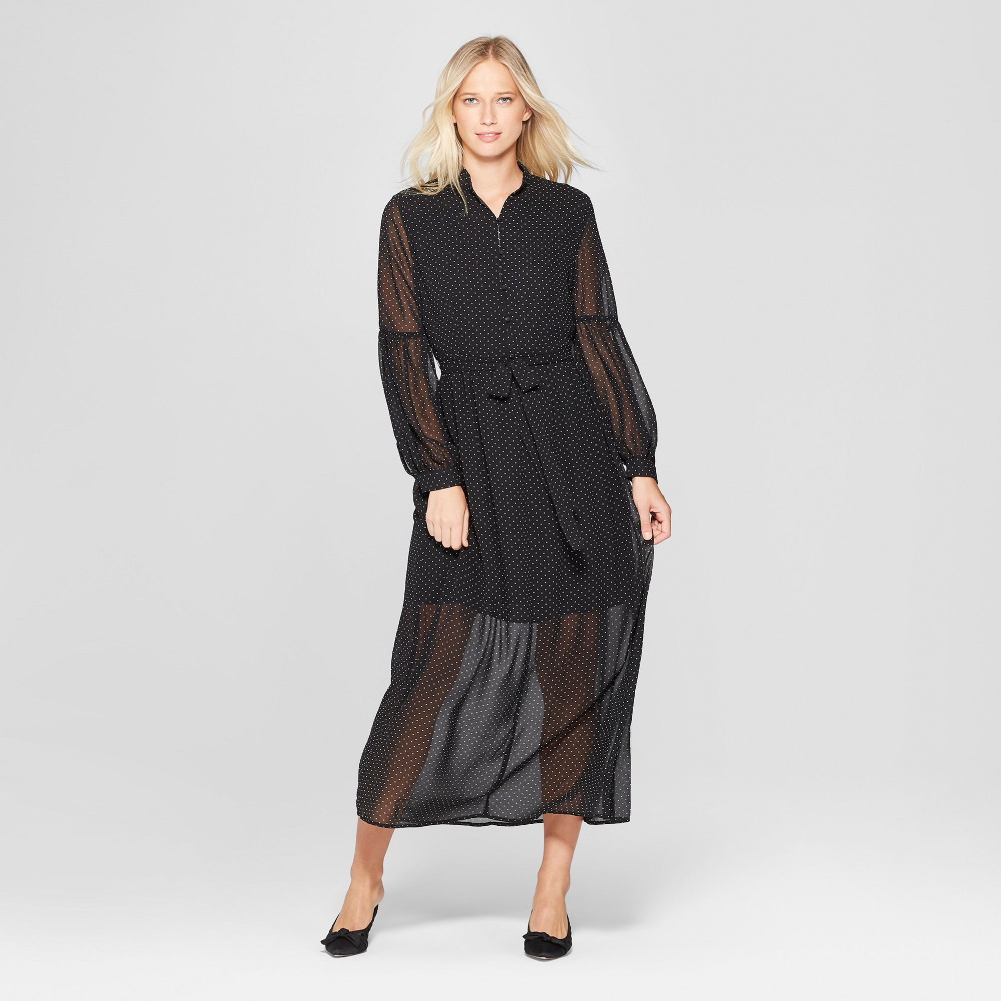 725419d13be Women s Polka Dot Long Sleeve Belted Maxi Dress - Who What Wear Black White  Xxl