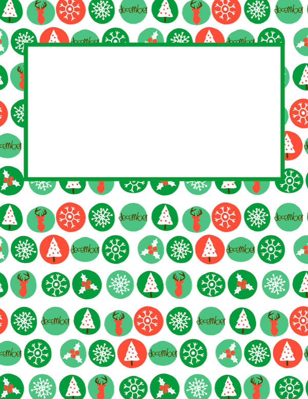 Free Printable December Binder Cover Template Download