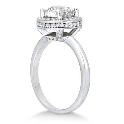 Floating Halo Diamond Engagement Ring Setting Palladium