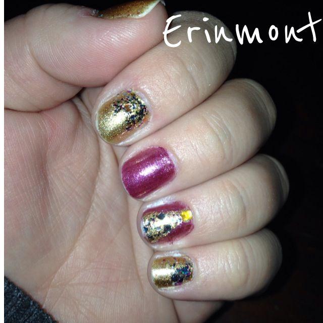 Pink and gold Christmas mani! #madewithstudio