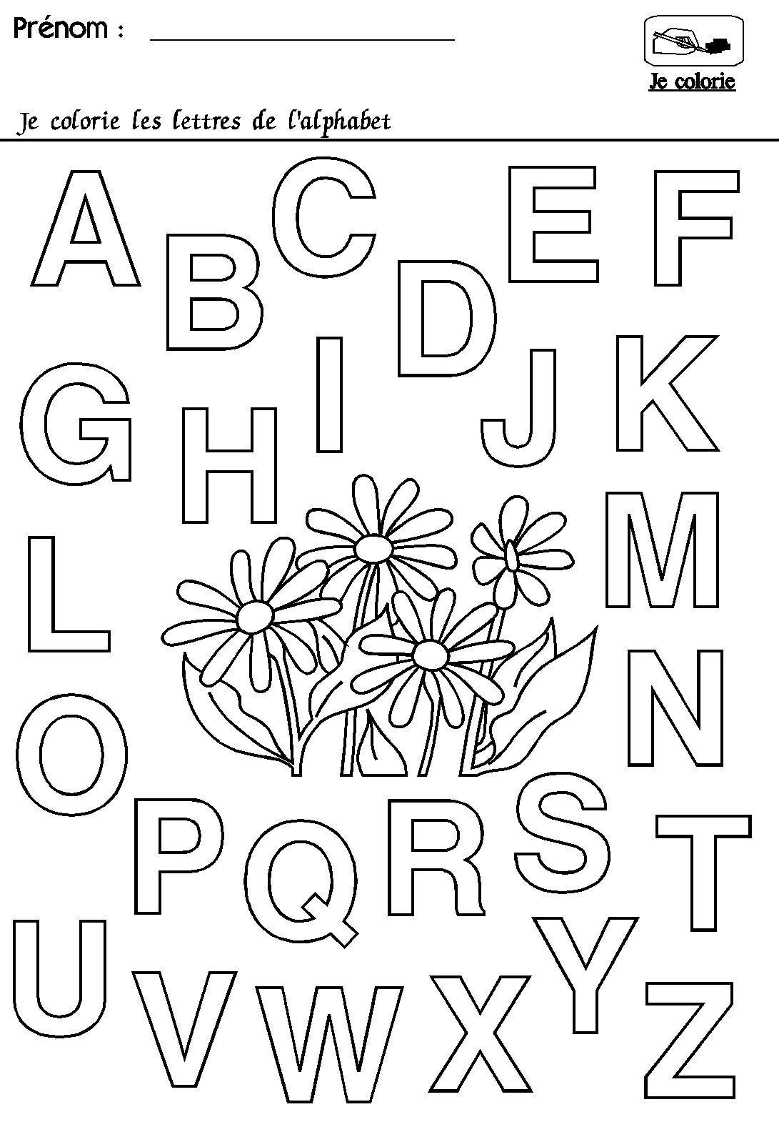 Maternelle rentrée des classes  l'alphabet   Alphabet à colorier ...
