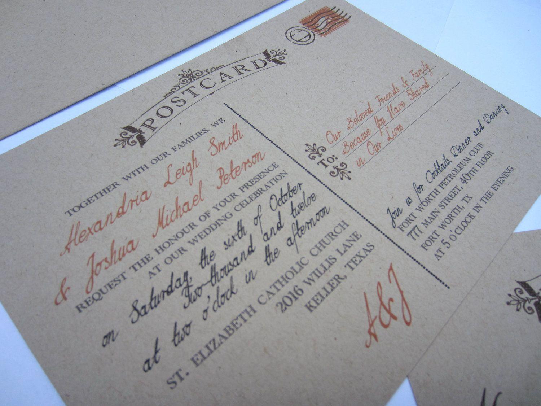 Vintage Postcard - Unique Rustic Wedding Invitation SAMPLE - Kraft ...