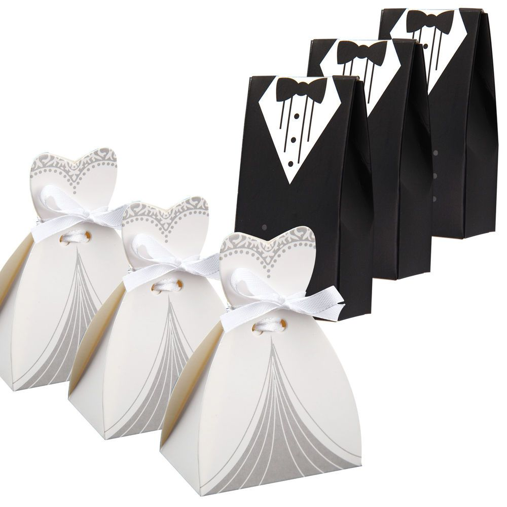 100 pcs dress & tuxedo bride groom wedding favor ribbon candy ...