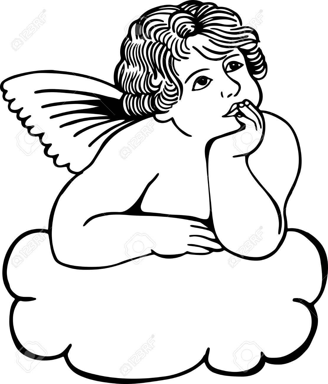 Illustration en noir et blanc simple sur une rêverie chérubin sur un