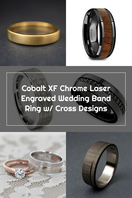 Cobalt XF Chrome Laser Engraved Wedding Band Ring w/ Cross
