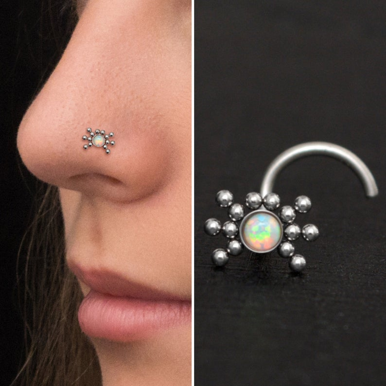 Opal Nose Bone Stud Surgical Steel Nose Stud Ring Nose Earring