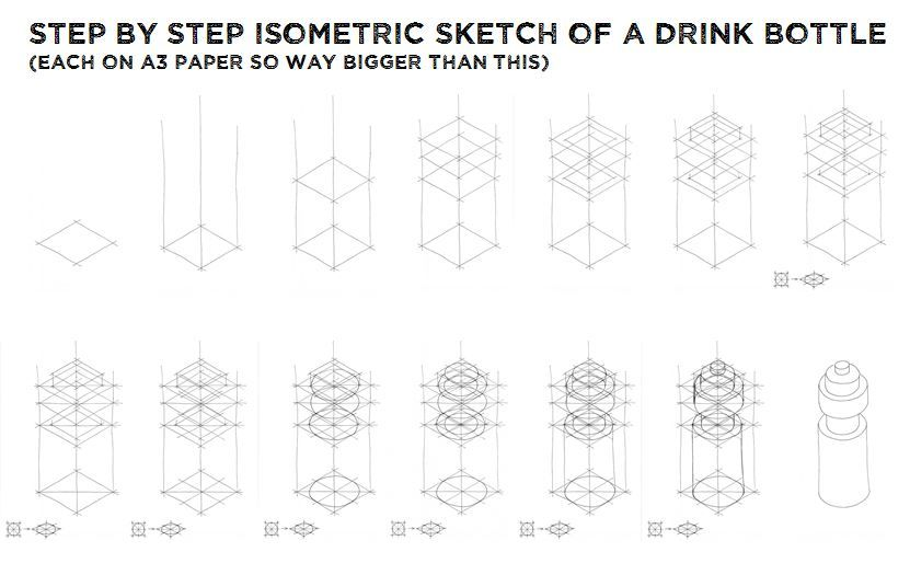 fragrance bottle as isometric drawing - Google Search - isometric graph paper