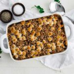 Sweet Potato Casserole Recipe with Marshmallow an Pecan Streusel - This delicious casserole recipe that's topped off with a pecan and marshmallow streusel is the perfect holiday side dish. #sweetpotatoes #casserole #sidedish #sweetpotatocasserolewithmarshmallows Sweet Potato Casserole Recipe with Marshmallow an Pecan Streusel - This delicious casserole recipe that's topped off with a pecan and marshmallow streusel is the perfect holiday side dish. #sweetpotatoes #casserole #sidedish #sweetpotatocasserolewithmarshmallows