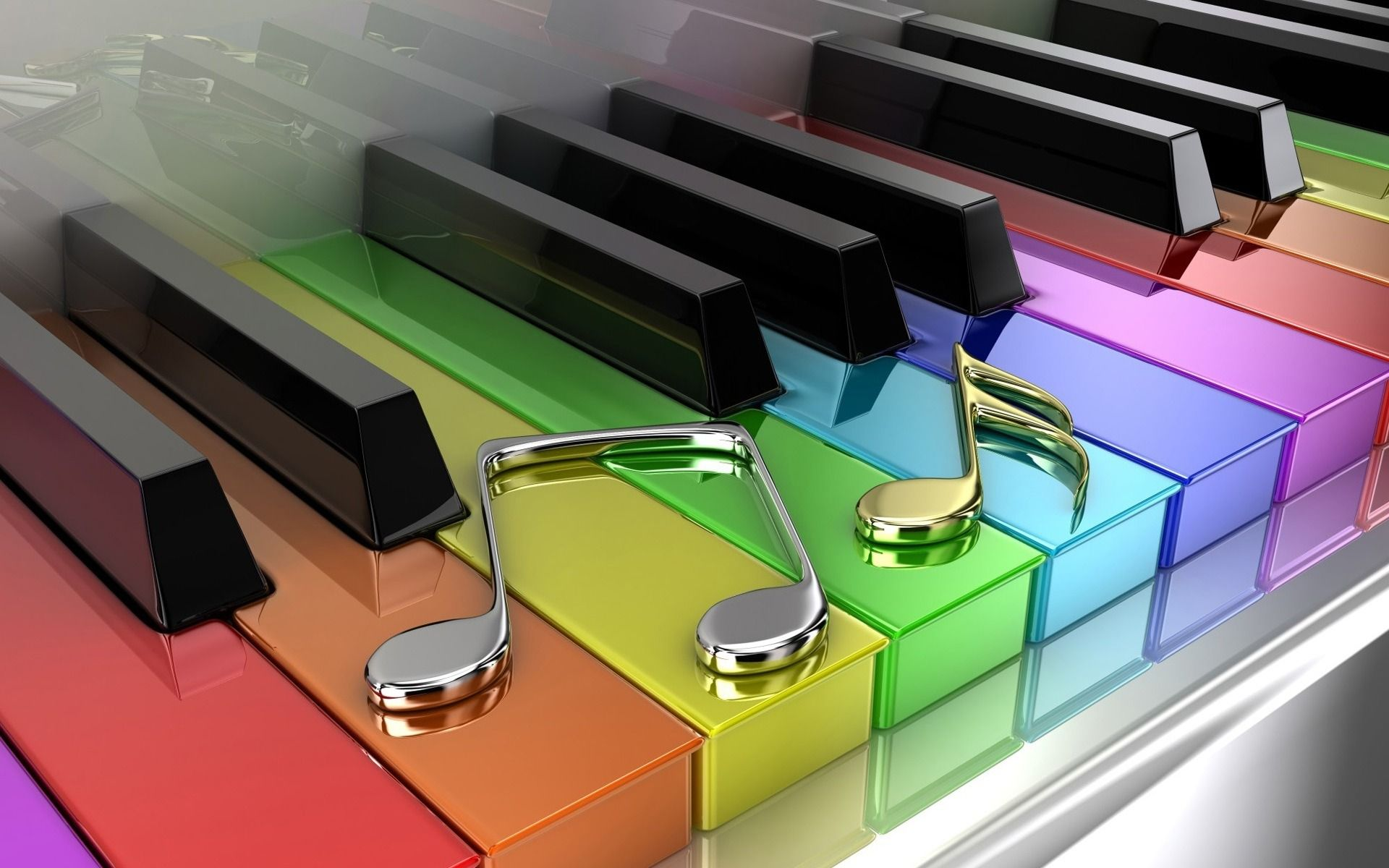 3D Colorful Music Notes Piano Wallpaper