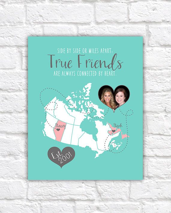 Custom Map For Friend Art Print, Canada Map, Gift For Best
