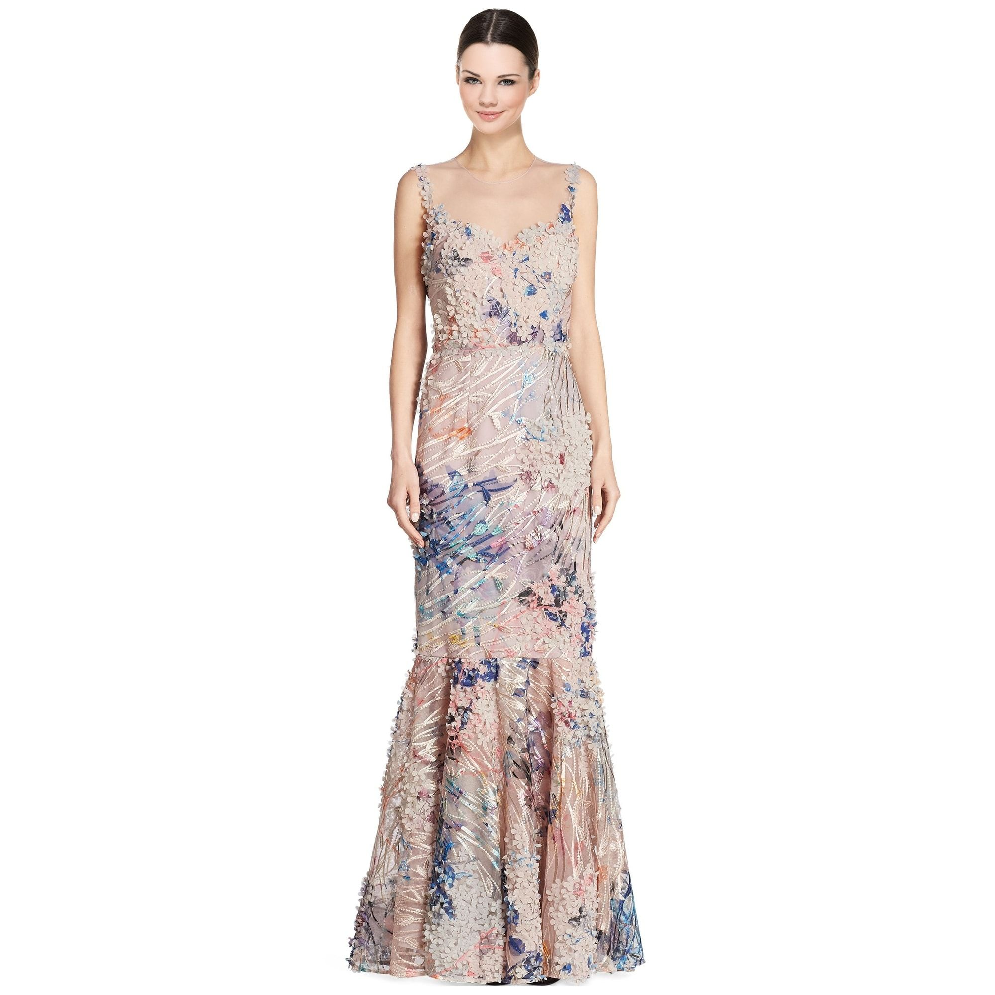 Teri Jon Embroidered Floral Applique Sleeveless Evening Gown Dress ...