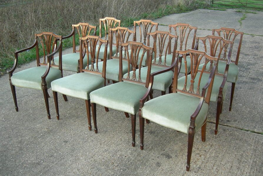 Set Of 12 Antique Dining Chairs - Set Of 12 Twelve Georgian Revival  Mahogany Dining Chairs - Set Of 12 Antique Dining Chairs - Set Of 12 Twelve Georgian