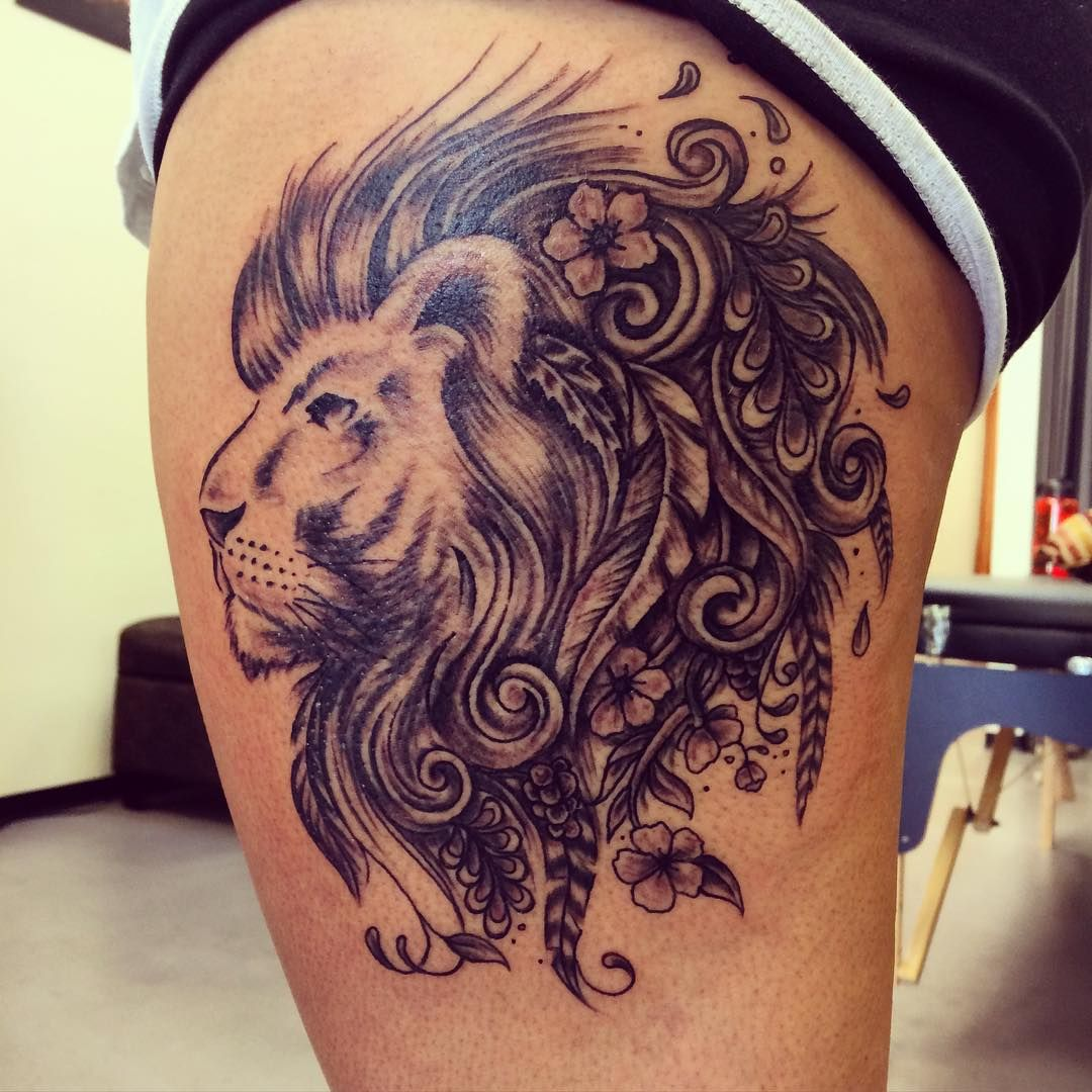 Excellent Thigh Tattoo Designs For Women In 2020 Leo Tattoos Leo Tattoo Designs Leo Zodiac Tattoos