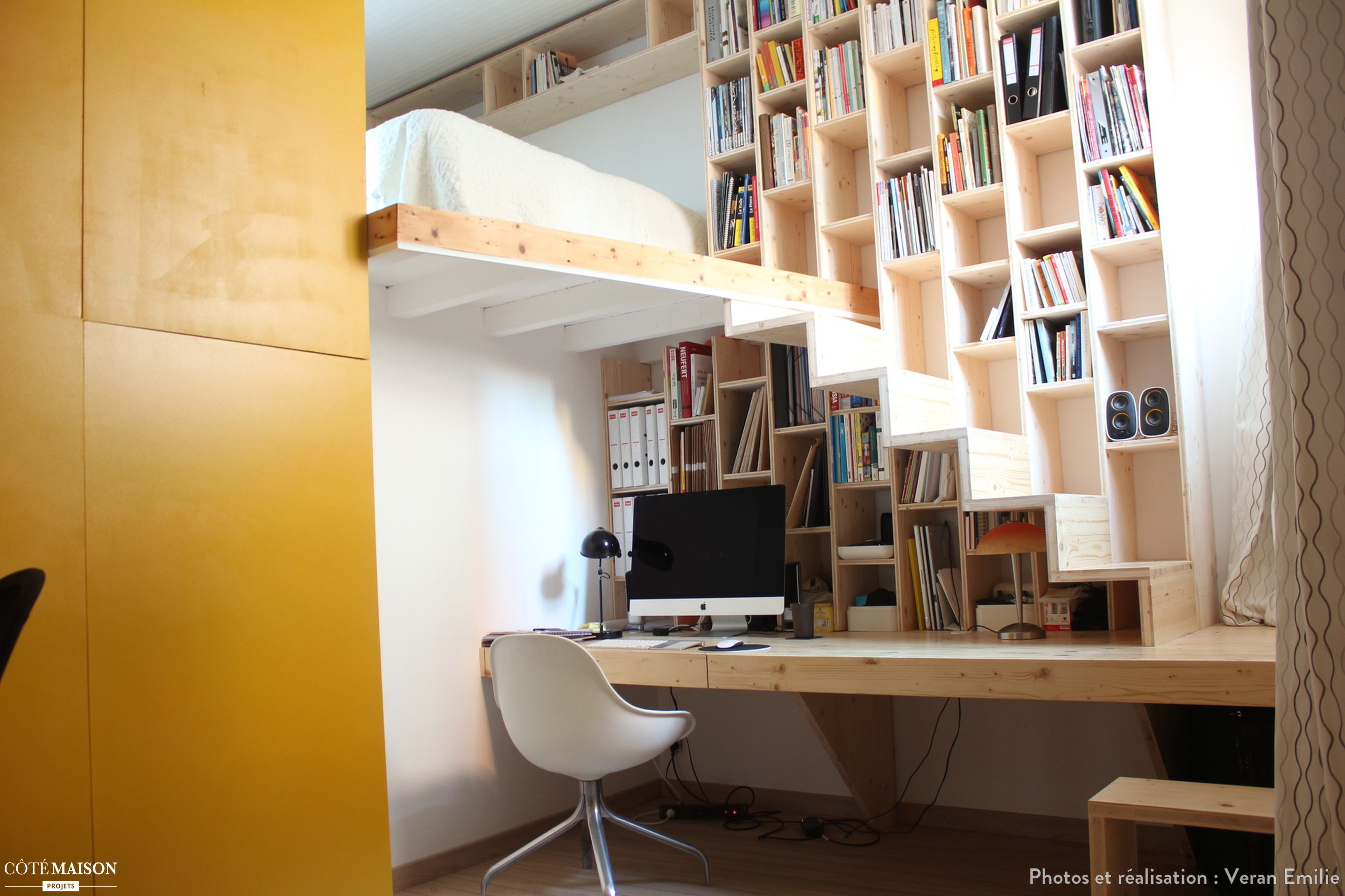 Cr Ation D Un Meuble Bureau Biblioth Que Escalier Toulouse Veran  # Creation Meuble Tv Bibliotheque Bureau