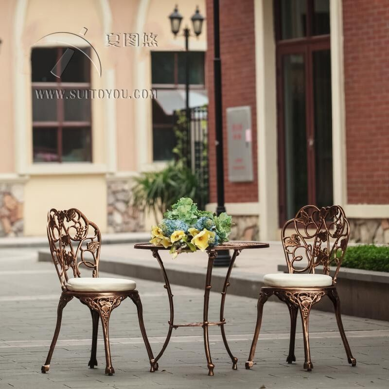 3 Piece Cast Aluminum Table And Chair Patio Furniture Garden Furniture Outdoor Furniture No Cushion