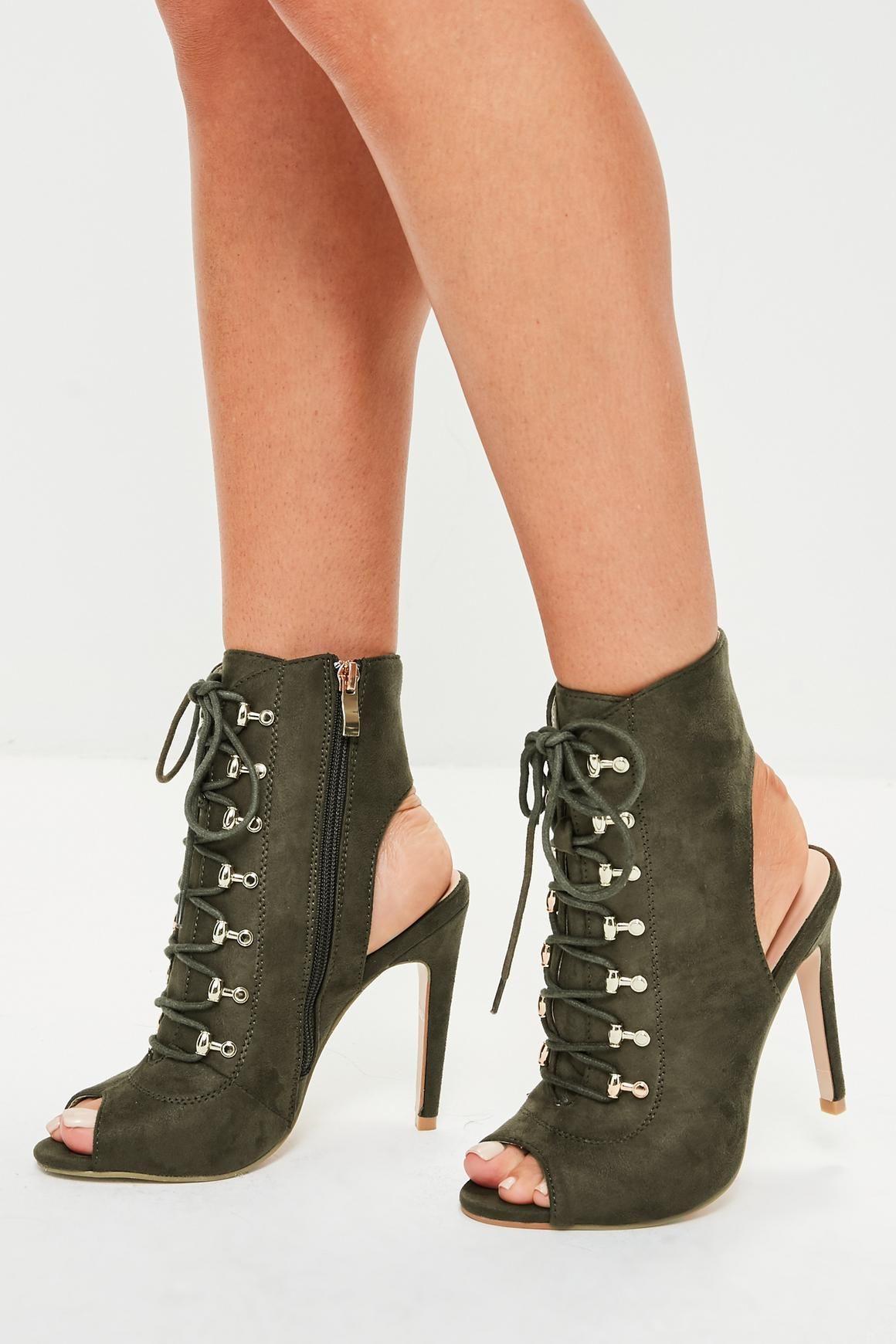 fac2e73cc30d0 Khaki Lace Up Peep Toe Ankle Boots | Shoes, Boots, Sandals, Wedges ...
