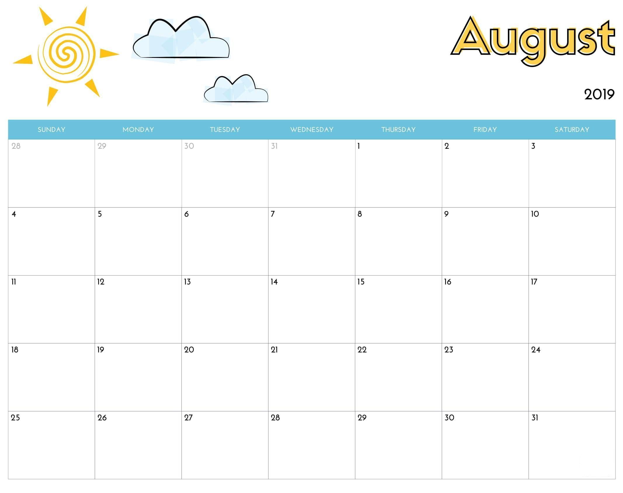Cute August 2019 Calendar Printable Wallpapers Hd 2019 Calendar