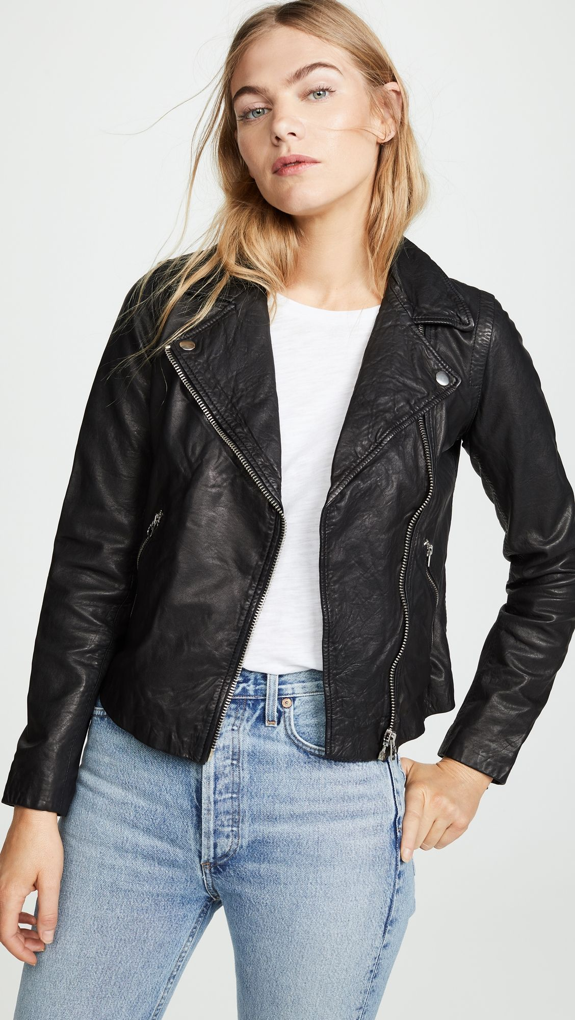 Madewell Washed Leather Motorcycle Jacket Washed Leather Jacket Black Leather Biker Jacket Stylish Fall Outfits [ 2000 x 1128 Pixel ]