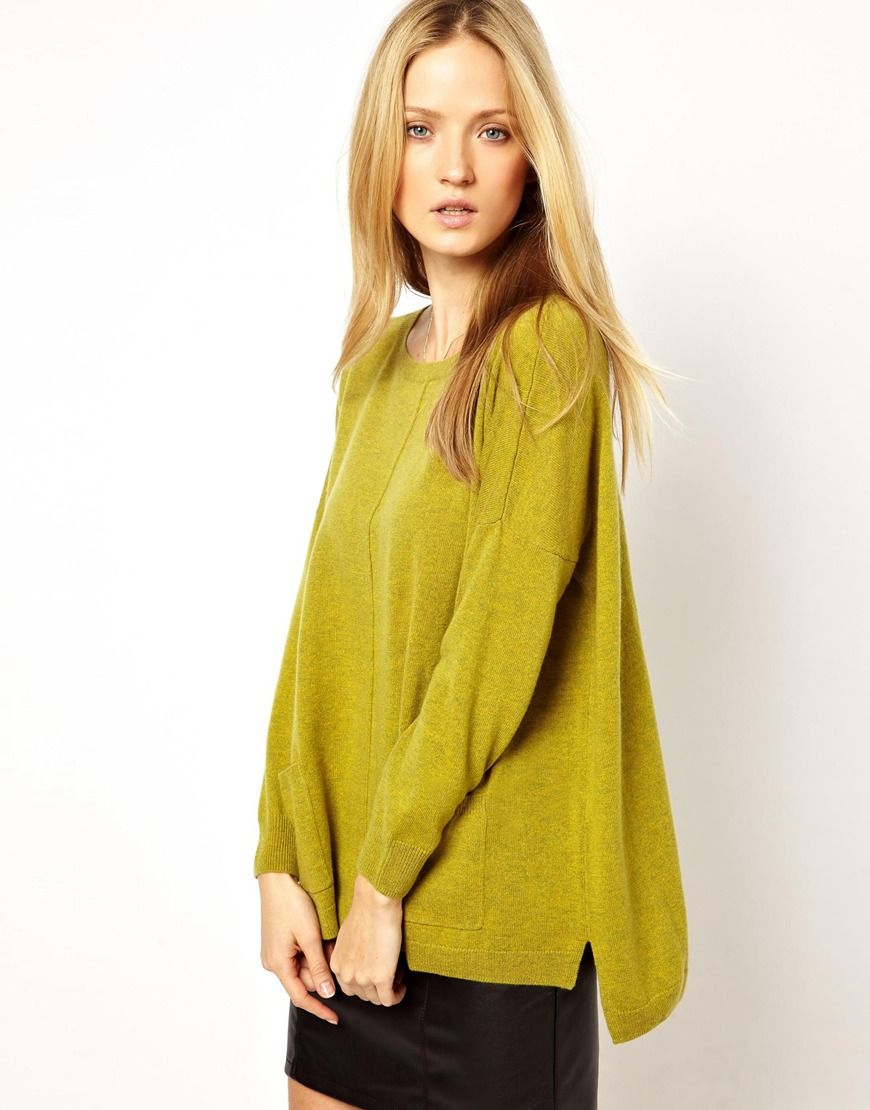 Cocoa Cashmere Boxy Knitted Sweater with Pockets in 100% Cashmere ...