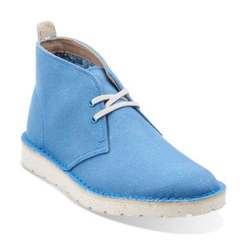 Clarks Womens Canvas Electric Blue Boots Desert Aerial