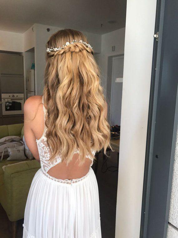 Bridal Hair Vine, Bridal Headpiece, Bridal Hair Wreath, Flower Hair Wreath, Boho Wedding, Pearl Head #bridalhairflowers