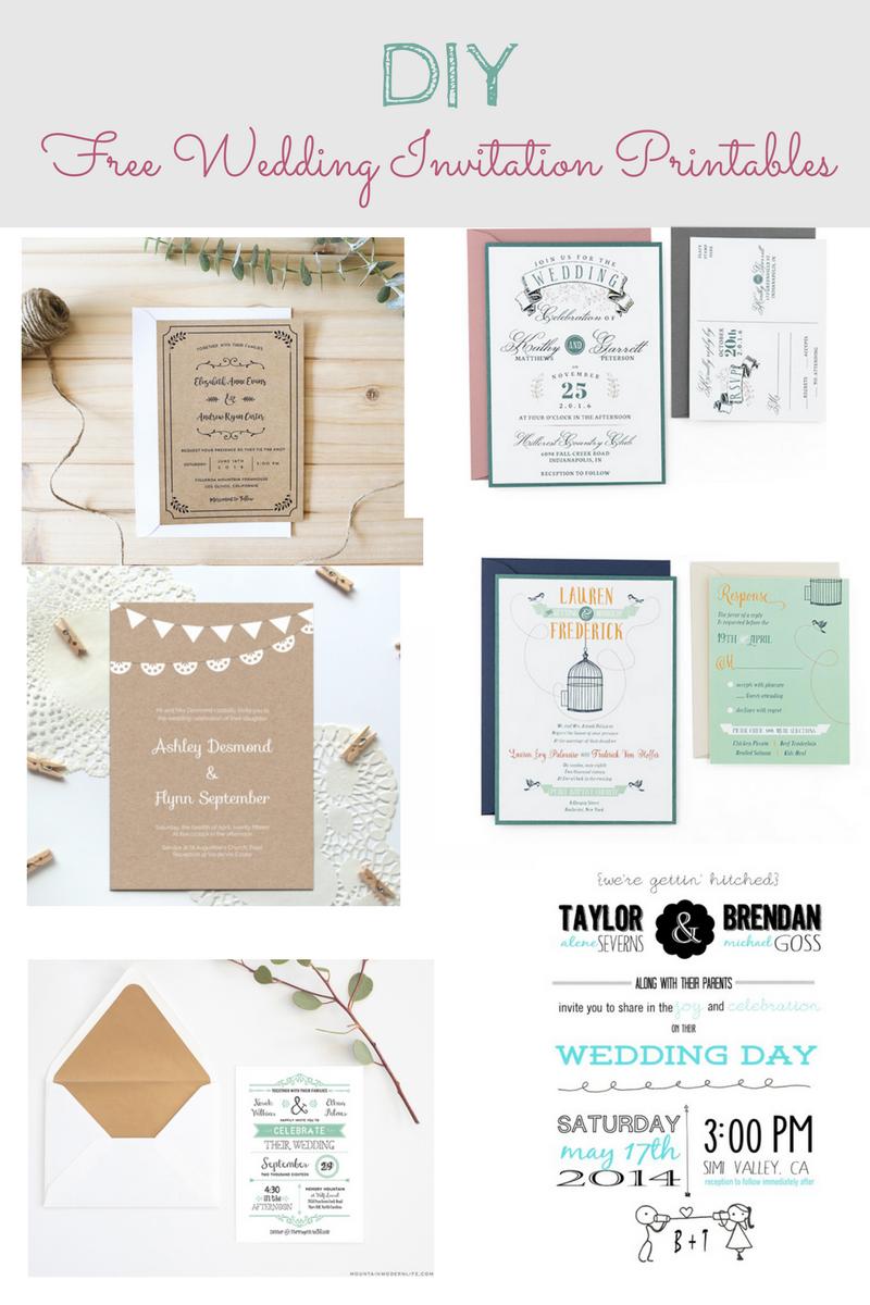 DIY Free Wedding Invitation Printables and Templates. Rustic wedding ...