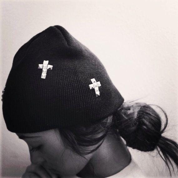Black Cross Small Studded Beanie on Etsy, £7.86