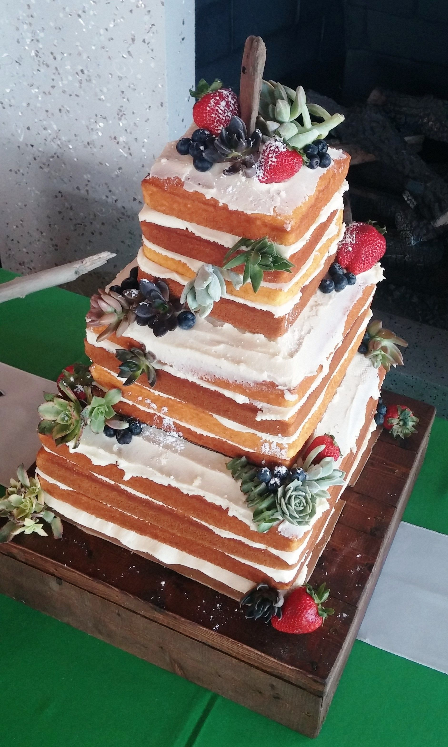 Wedding Catering OBX~ custom square naked cake w/ succulents & fruit~ May 2015 Jennette's' Pier ...
