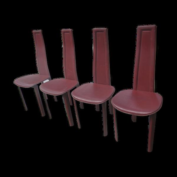 4 Chaises En Cuir Annees 70 Chaise Cuir Chaise 4 Chaises