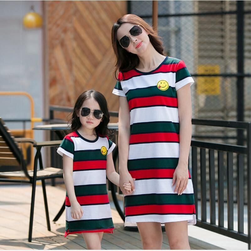 36712927817ee 2017 summer mom and daughter dress family clothing red stripe casual ...