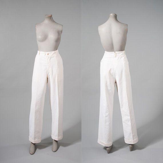 Vintage 1920s Mens White Pants Gatsby White Linen by missfarfalla