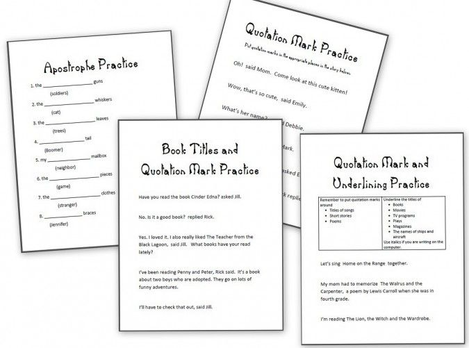 grammar practice sheets apostrophes quotation marks and underlining and others homeschool. Black Bedroom Furniture Sets. Home Design Ideas