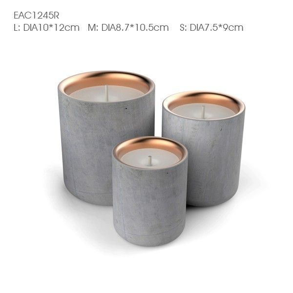 Natural Soy Wax Marble Concrete Cement Candle Jars Holder With Copper Metal Lids Candle Jars Concrete Candle Cement Candle