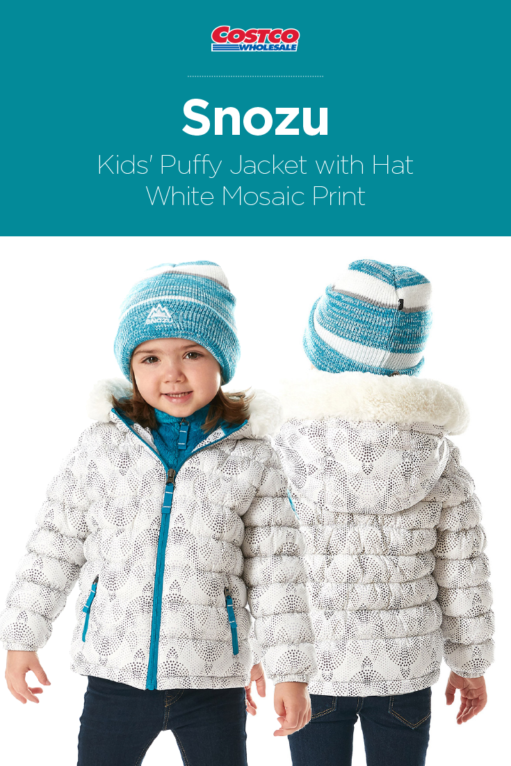 Snozu Kids Puffy Jacket With Hat White Mosaic Print Puffy Jacket Affordable Outerwear Girls Outerwear [ 1102 x 735 Pixel ]