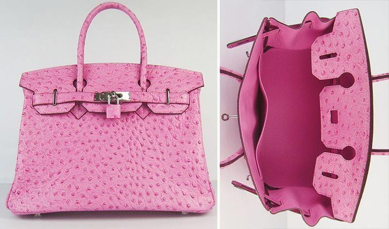 Pink Hermes Ostrich Handbag