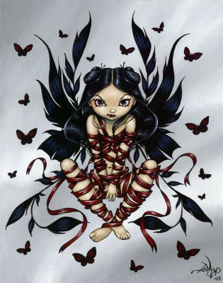 Captive Fairy ribbons gothic fantasy art CANVAS PRINT