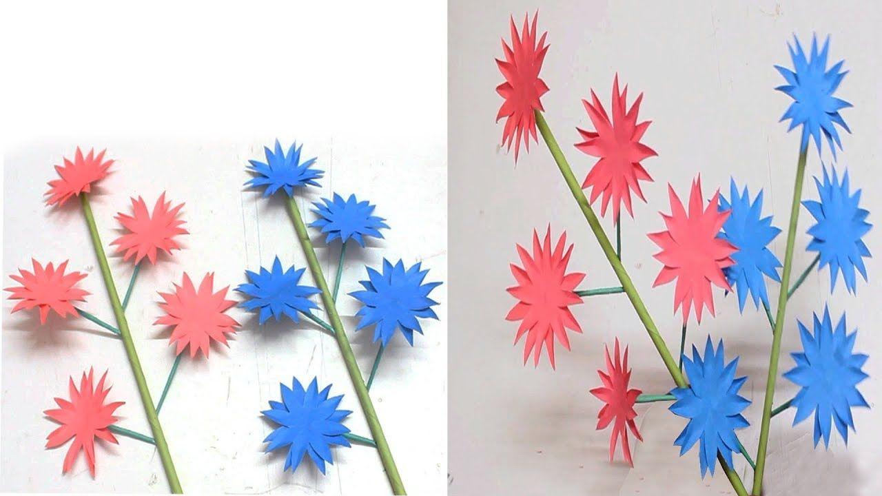How To Make Beautiful Stick Paper Flower Diy Handcraft Stick