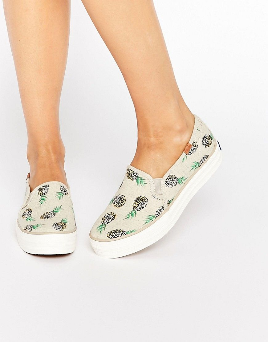 Read more about Keds Triple Decker Pineapple Slip On Plimsoll Trainers -  Pineapple Print