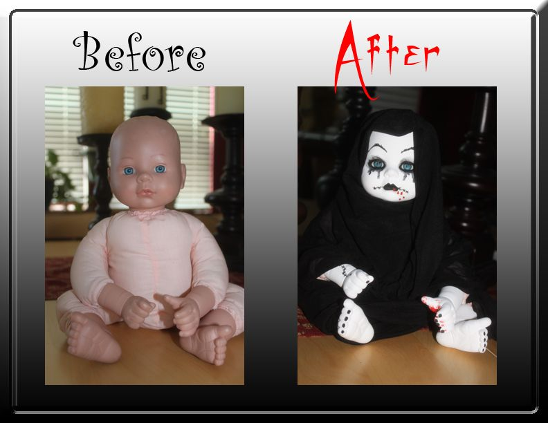 what to do with a one dollar garage sale find before and after baby doll baby doll gone goth