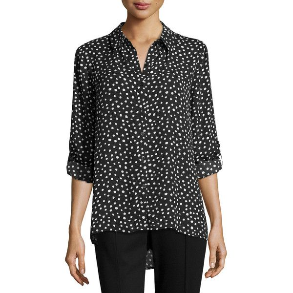 675eb4dc Shirt Blouses · Blouse · Neiman Marcus Dot-Printed Button-Up Blouse ($29) ❤  liked on Polyvore