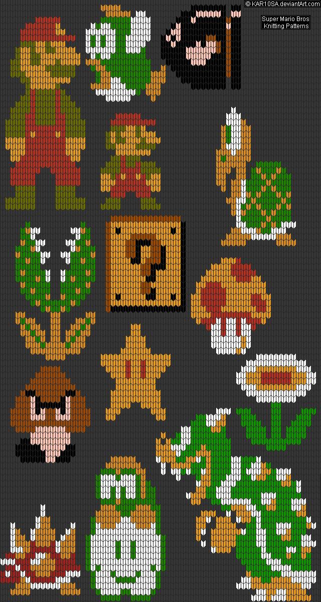 Nes Super Mario Bros Knitting Patterns By Kar10saiantart On