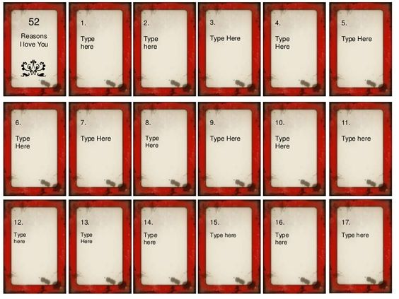 52 things i love about you card deck template free Google Search – Love Templates Free