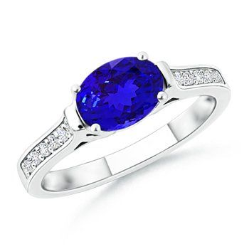 Angara Vintage Inspired Natural Tanzanite Diamond Solitaire Ring in Platinum