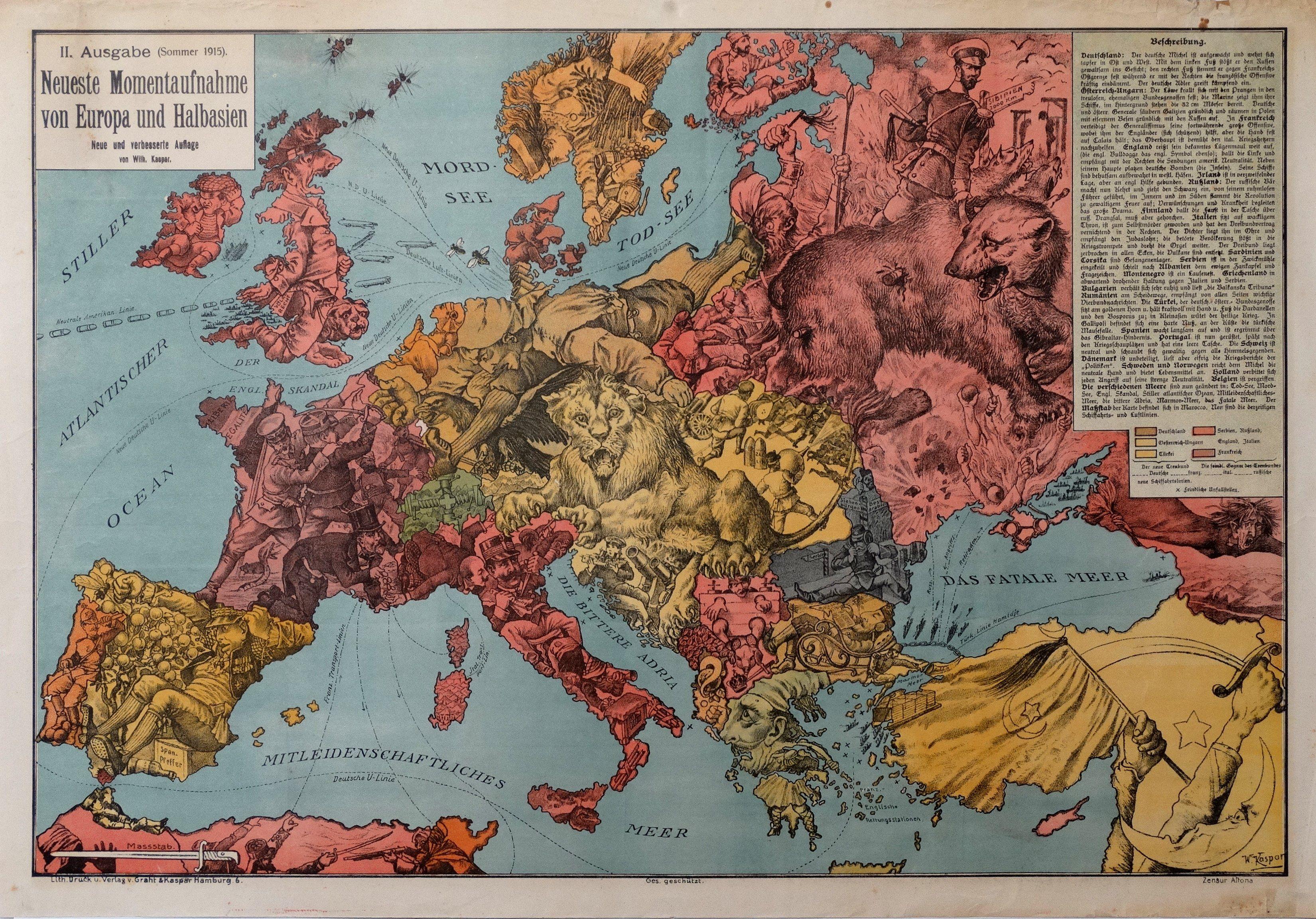 Cartoon Map 1915 Summer 2nd ed Cartoon