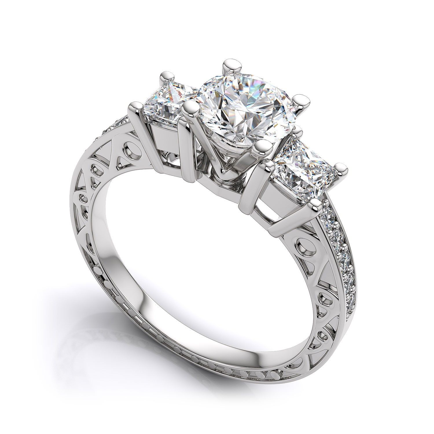 gold engagement i rings ring edge cut white knife in jewellery setting princess h diamond halo si