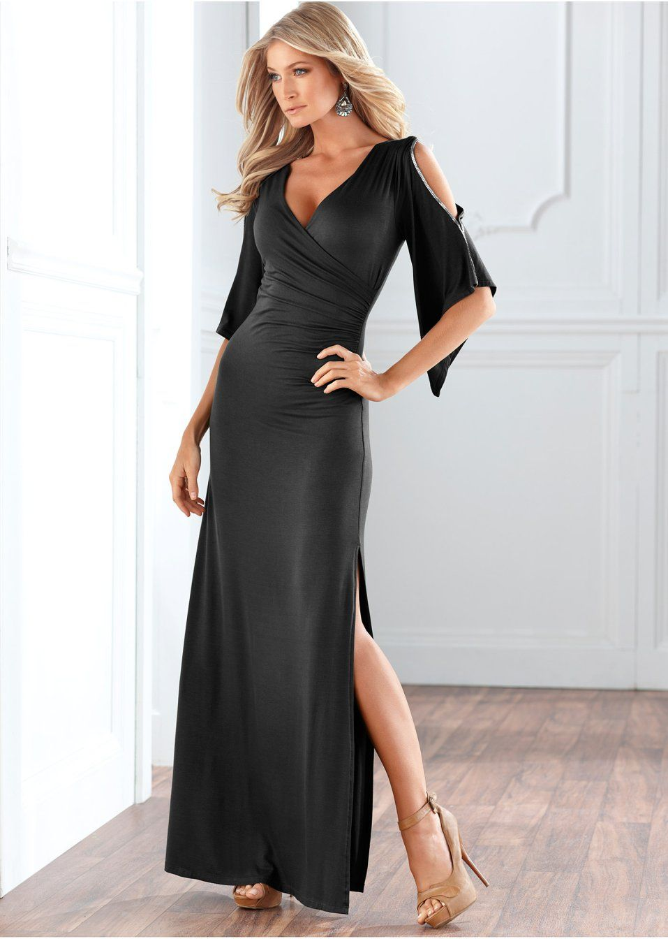 Kleid schwarz - bonprix.de  Lange kleider, Schicke kleider, Kleider
